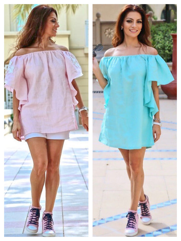 Linen Butterfly Sleeve Dress