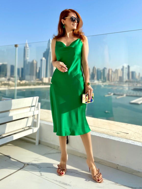 Slip Dress in Emerald