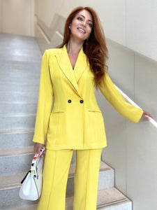 Crepe Double-Button Blazer