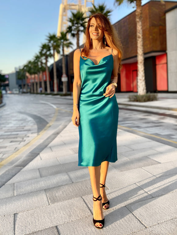 Slip Dress In Turquoise