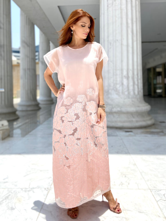 Peach Rose Organza Kaftan