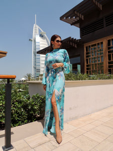 Full sleeve maxi dress, back open. Slit on the side.