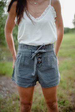 Charcoal Paperbag Button Shorts