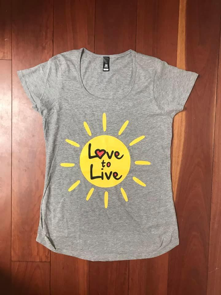 Ladies Scoop Neck Tee Love to Live Sun Logo