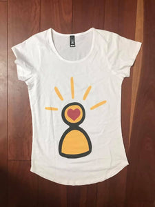 Ladies scoop neck Lightbulb logo Tee