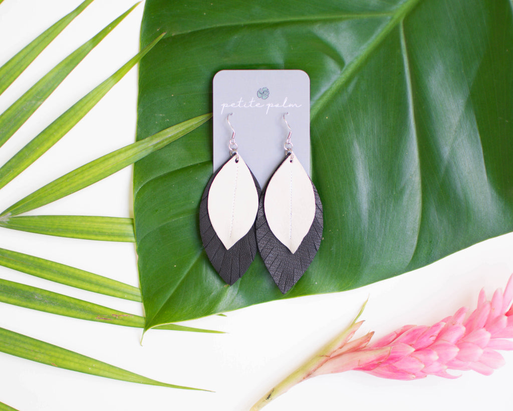 Two-Tone Feather Earrings - Charcoal + White