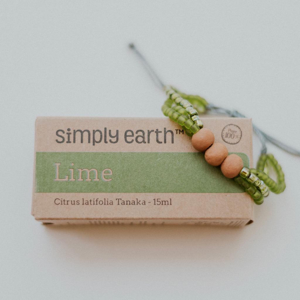 Energy Diffuser Bundle - Palm Bracelet + Lime Essential Oil