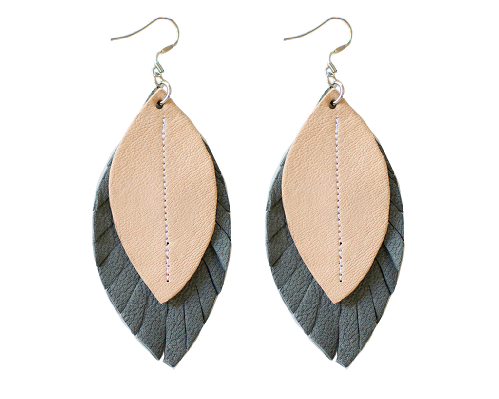 Two-Tone Feather Earrings - Grey + Blush