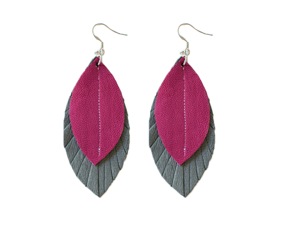Two-Tone Feather Earrings - Grey + Rose