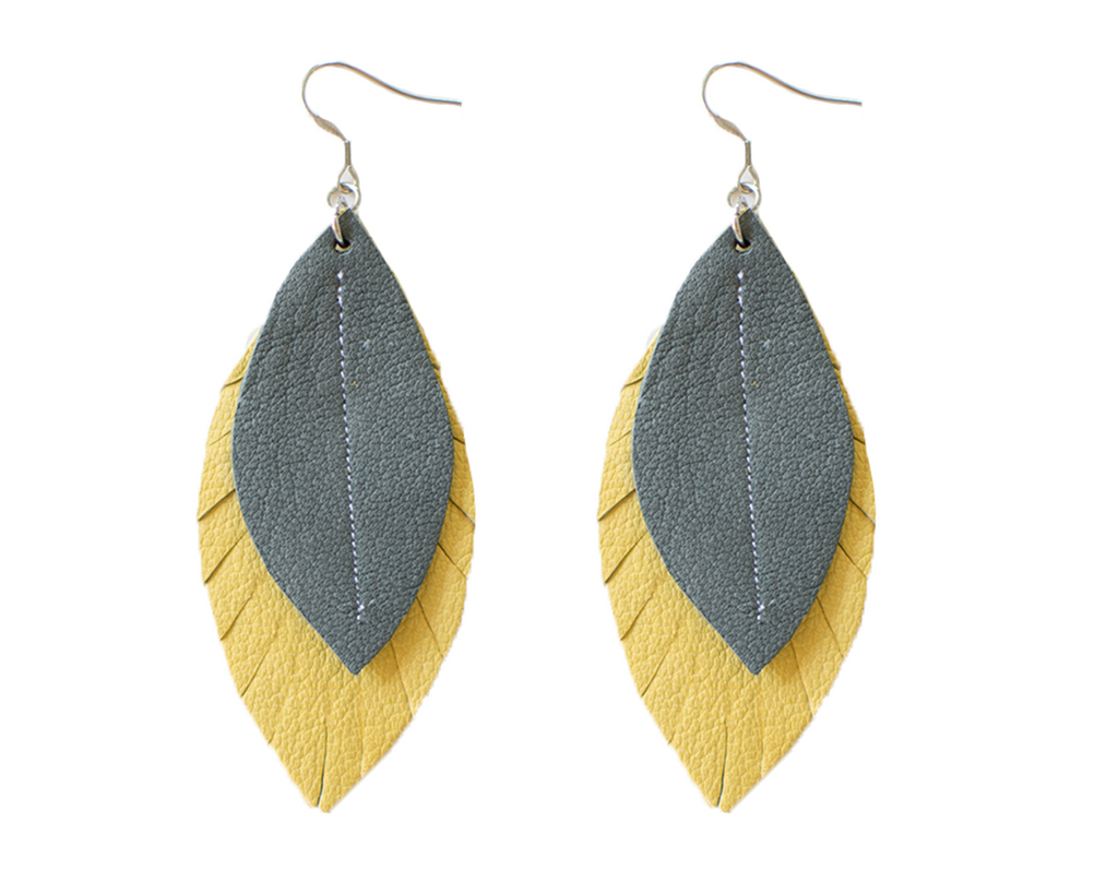 Two-Tone Feather Earrings - Honey + Grey