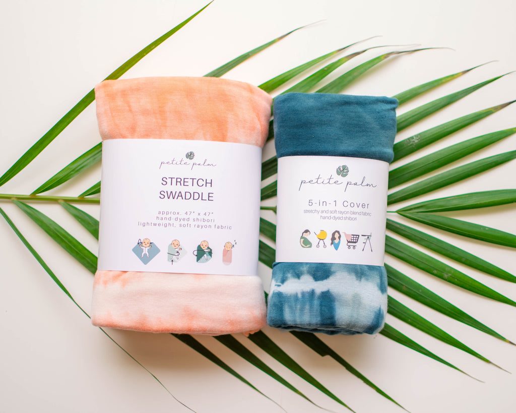 Essentials Bundle - Peach Stretch Swaddle + Teal Cover