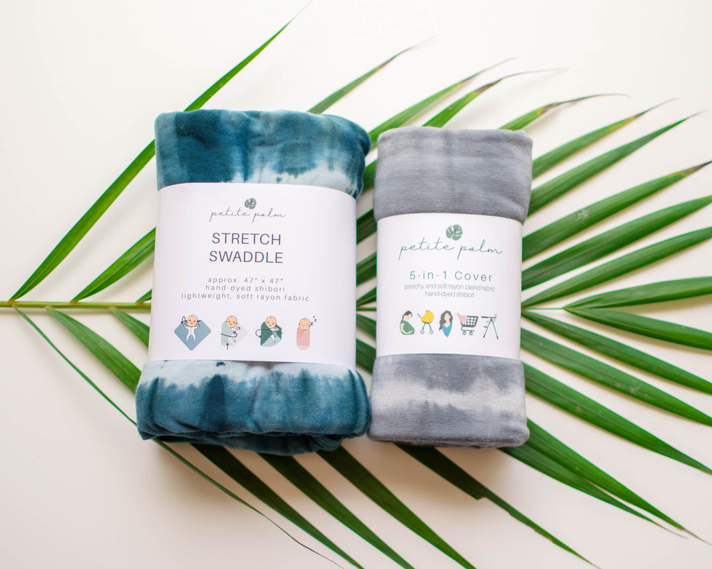 Essentials Bundle - Teal Stretch Swaddle + Grey Cover