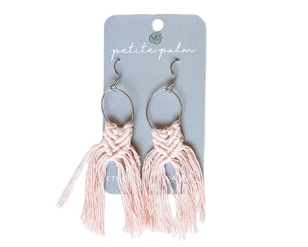 Macramé Fringe Earrings - Blush