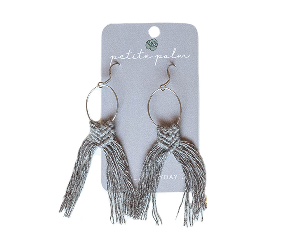 Macramé Fringe Earrings - Grey