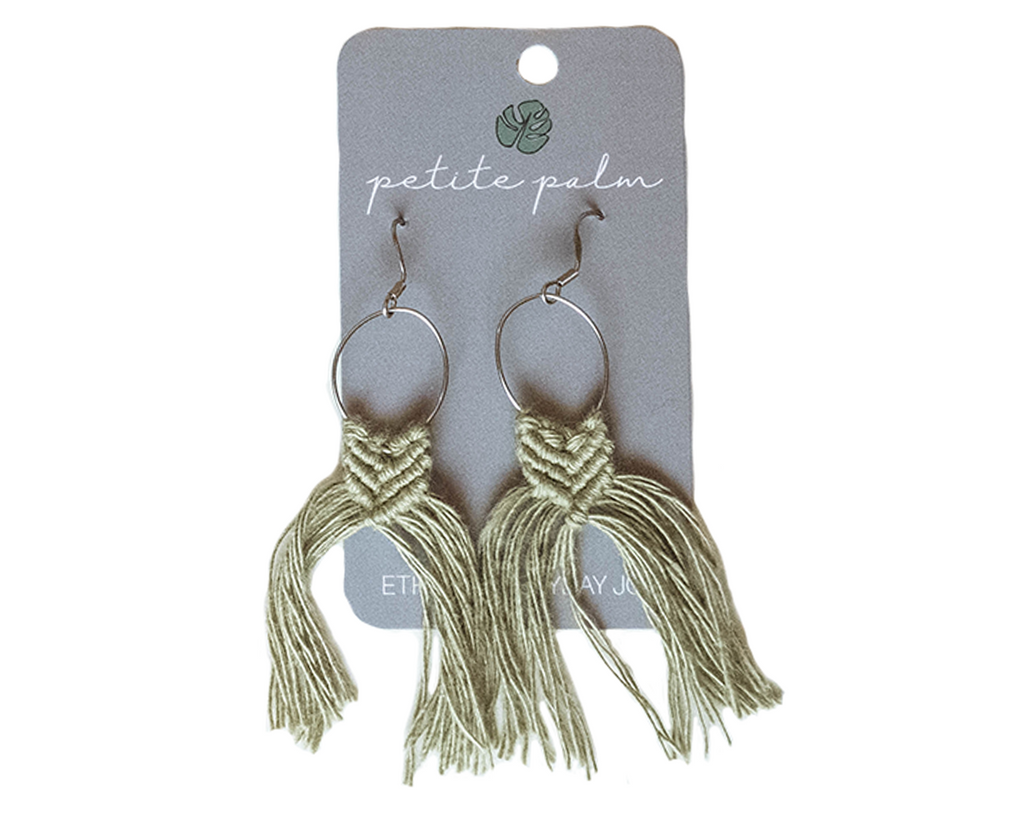 Macramé Fringe Earrings - Olive