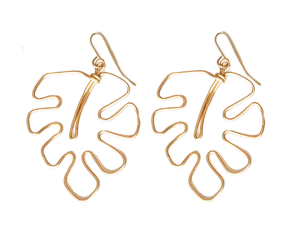Monstera Palm Earrings - Gold
