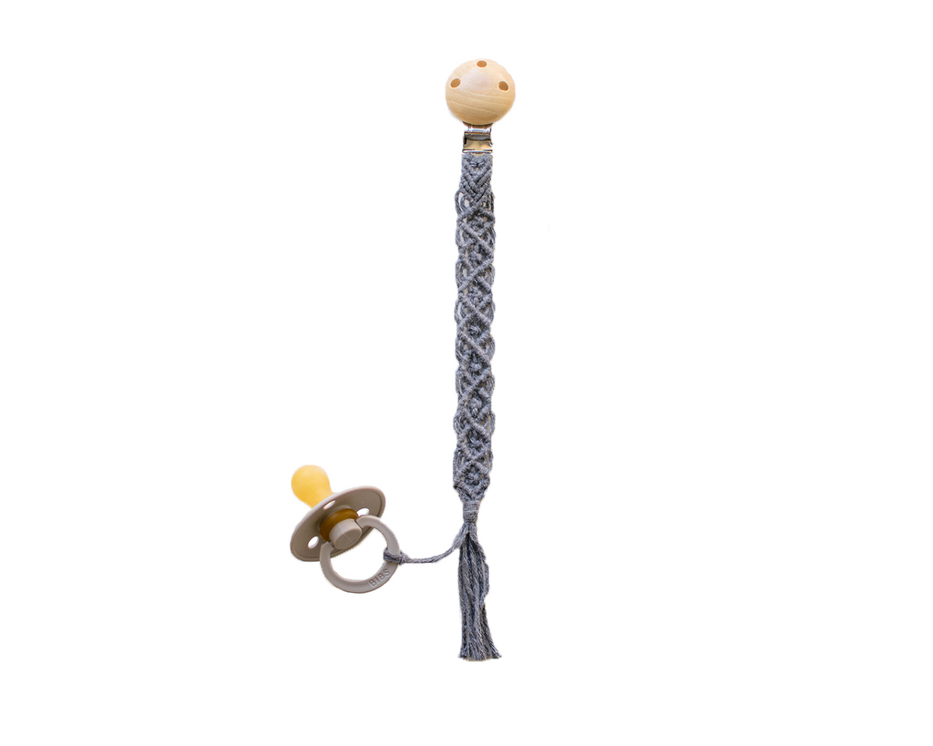 Macrame Pacifier Clip - Grey Diamond