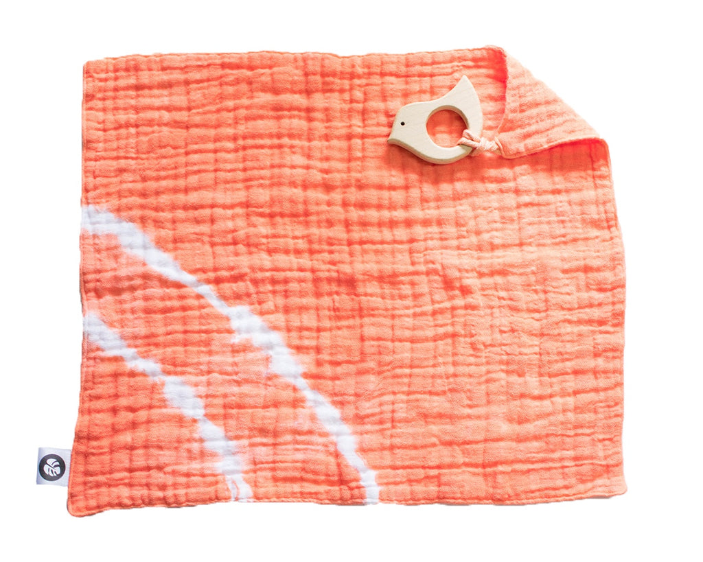 Muslin Lovey + Teether - Peach Striped