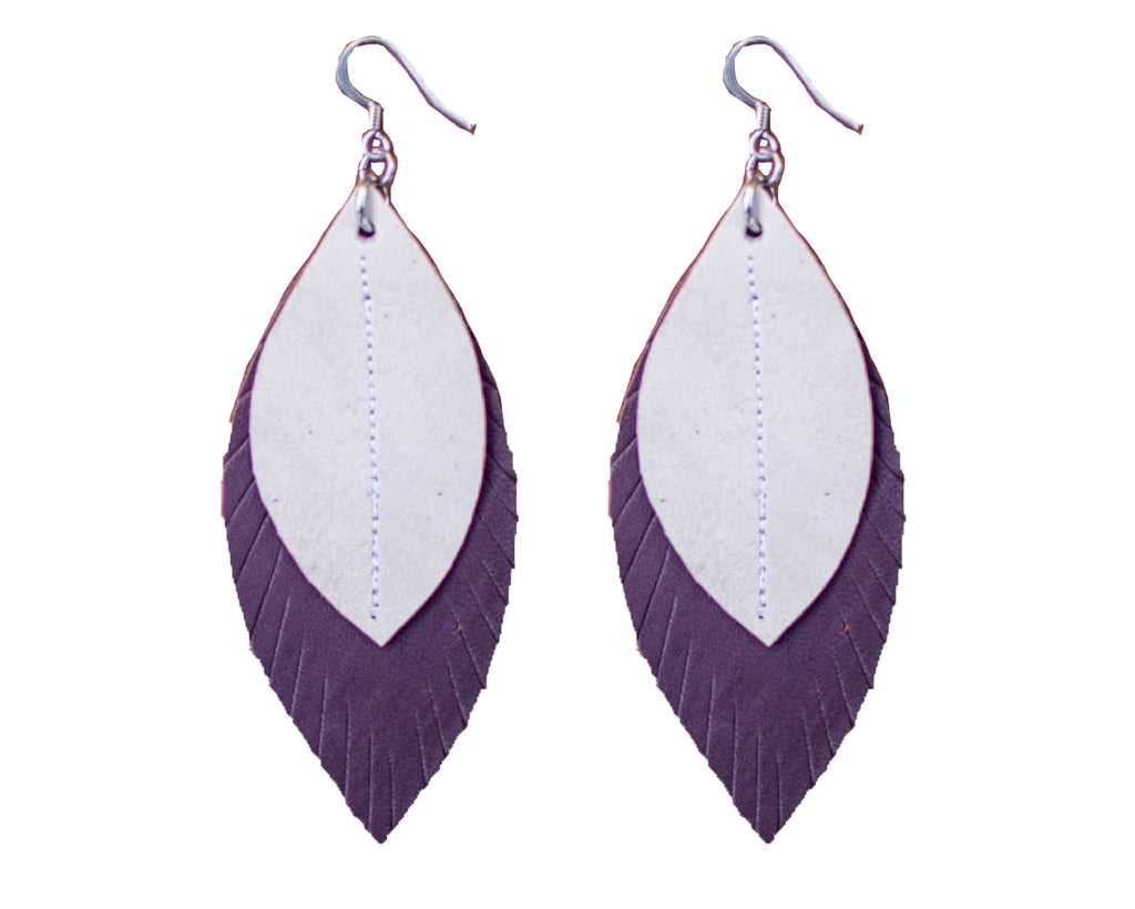 Two-Tone Feather Earrings - Plum + White