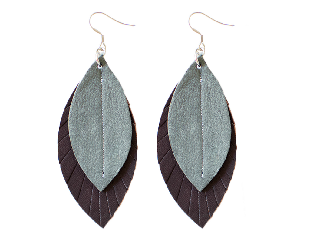 Two-Tone Feather Earrings - Plum + Grey