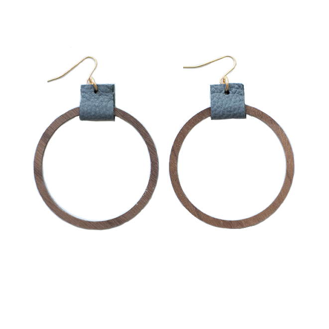 Simple Hoop Earrings - Grey
