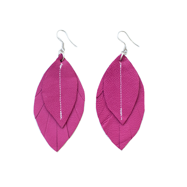 Single-Tone Feather Earrings - Rose