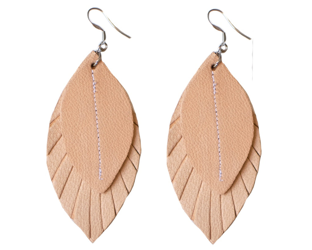 Single-Tone Feather Earrings - Blush