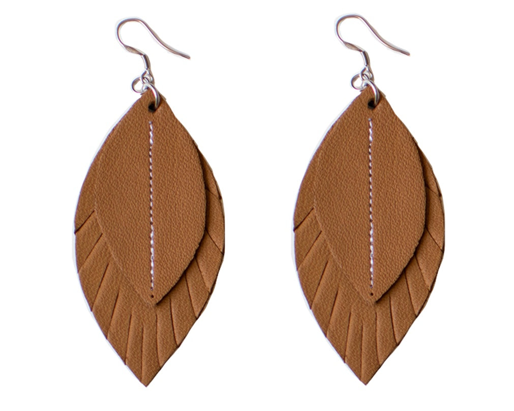 Single-Tone Feather Earrings - Coffee