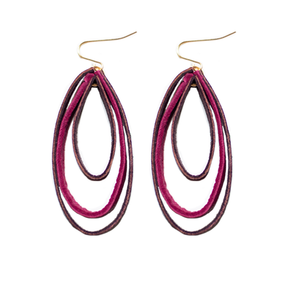 Triple Hoop Earrings- Rose