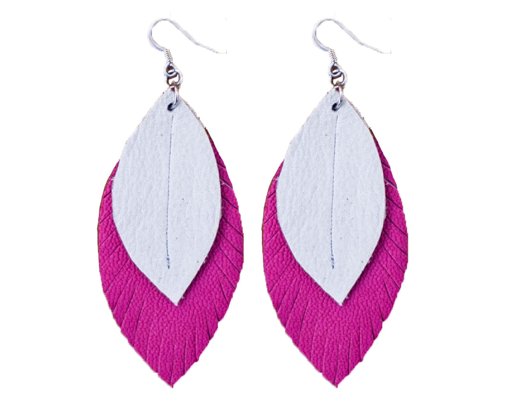 Two-Tone Feather Earrings - Rose + White