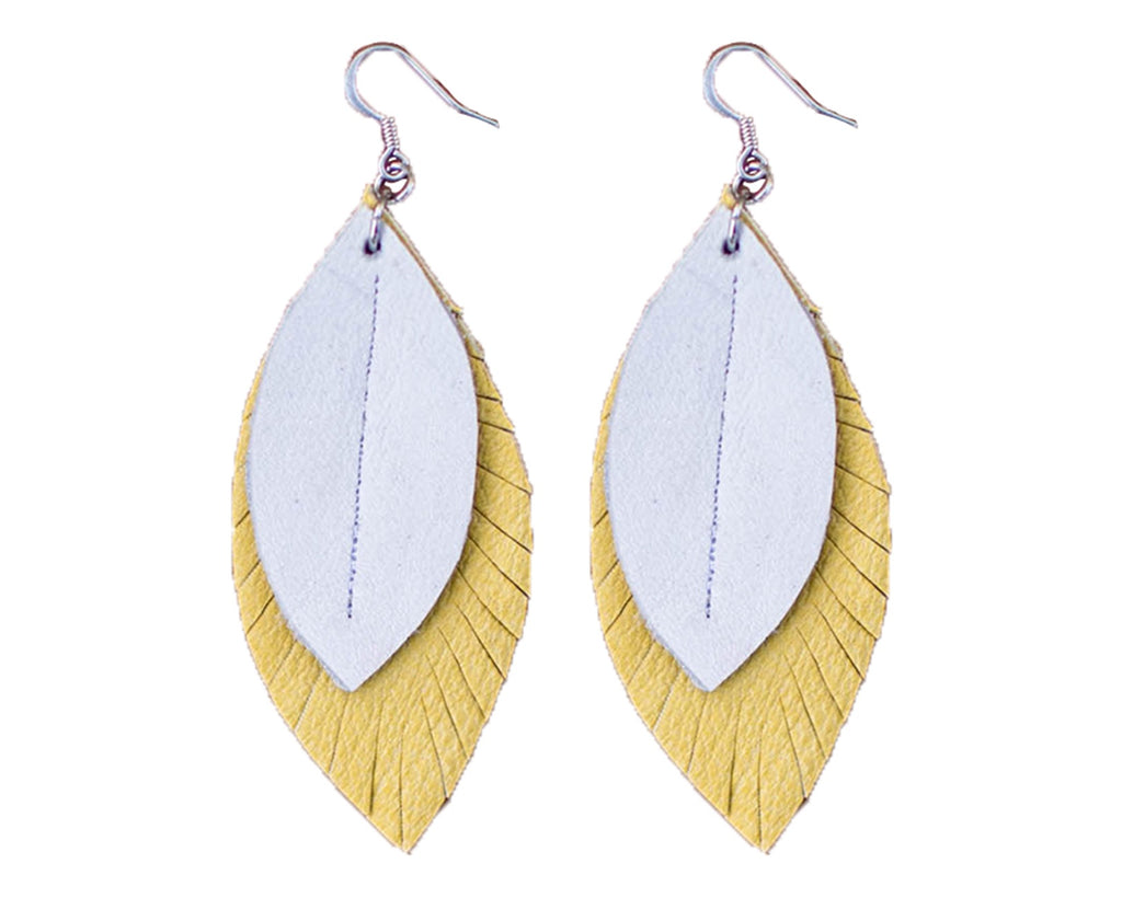 Two-Tone Feather Earrings - Honey + White