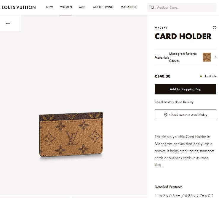 LV CARD HOLDER - M69161 * £140