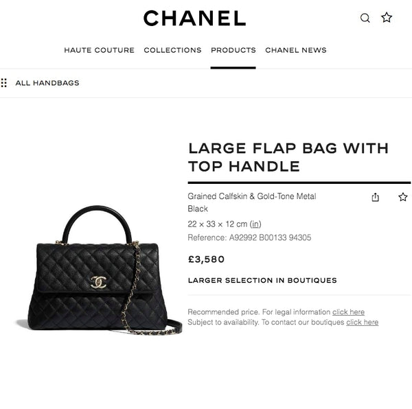 Chanel Large Flap Bag With Top Handle - A92992 * £3,580