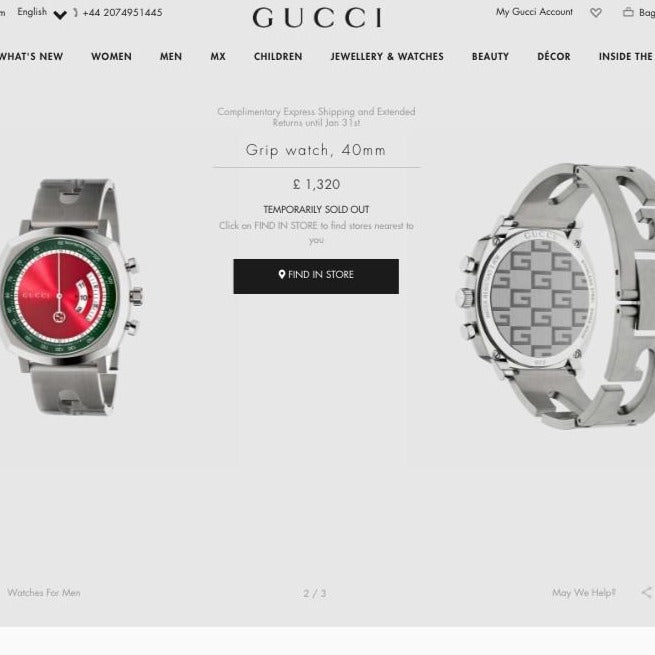 Gucci Grip Watch, 40mm Steel Case with Green and Red Dial - 642392 * £1,320