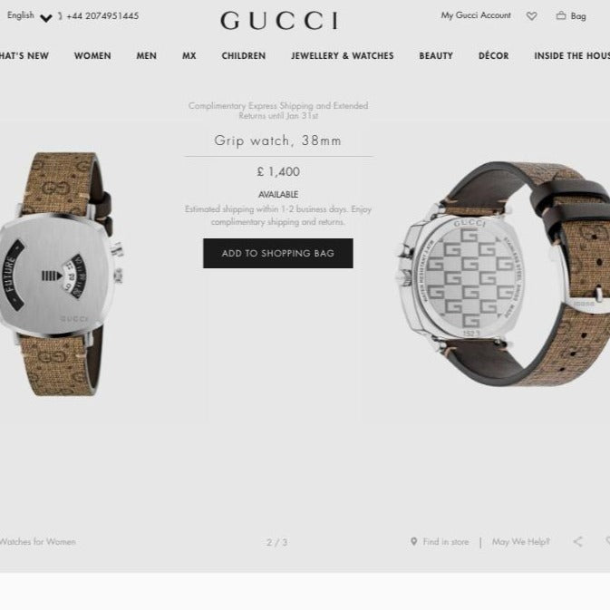 Gucci Grip Watch, 38mm Steel Case with GG Supreme Canvas Strap - 609930 * £1,400