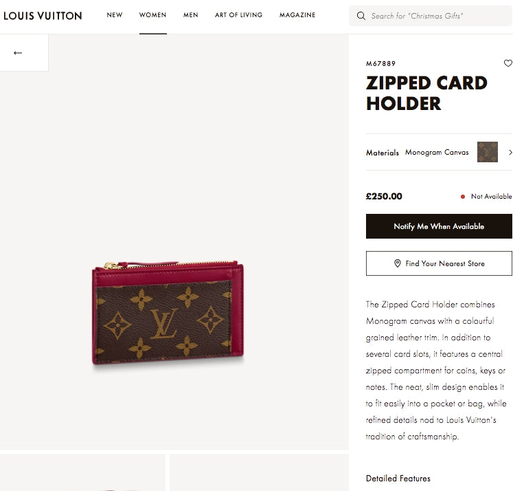 LV ZIPPED CARD HOLDER - M67889 * £250