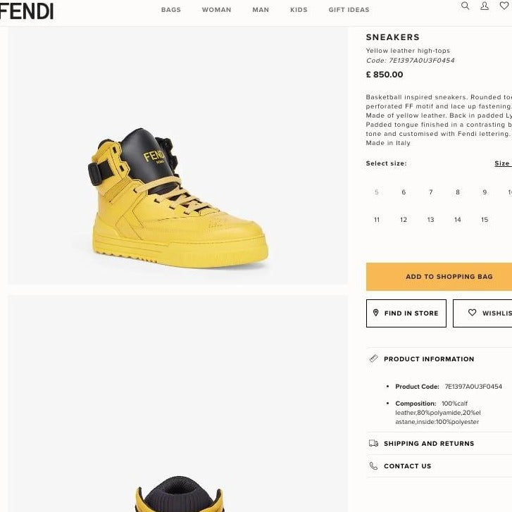 FENDI SNEAKERS Yellow Leather High-Tops - 7E1397A0U3F0454 * £ 850