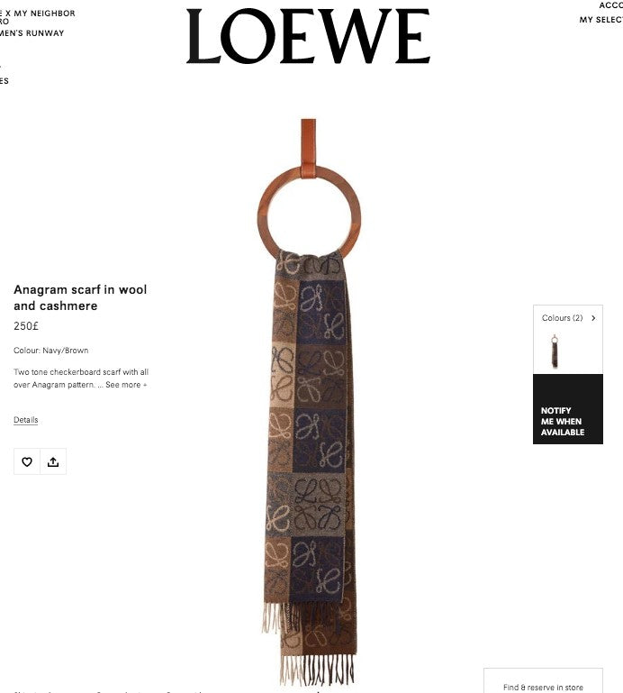 LOEWE Anagram Scarf In Wool And Cashmere * £250