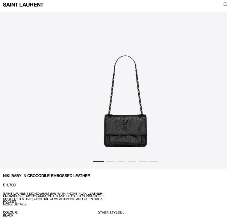 YSL NIKI BABY IN CROCODILE-EMBOSSED LEATHER Black - 5489431 * £1,700