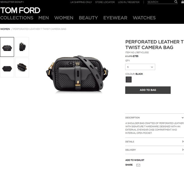 TOM FORD PERFORATED LEATHER T TWIST CAMERA BAG Black - L1181T-ICL002 * £735