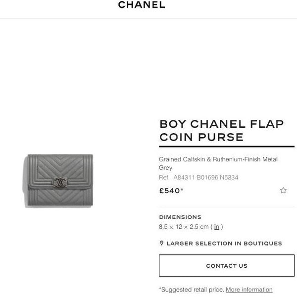 Chanel Boy Chanel Flap Coin Purse - A84311 * £540