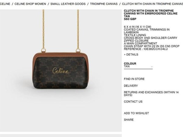 CELINE CLUTCH WITH CHAIN IN TRIOMPHE CANVAS WITH EMBROIDERED * £560