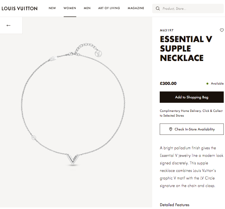 LV ESSENTIAL V SUPPLE NECKLACE 銀Silver - M63197 * £300