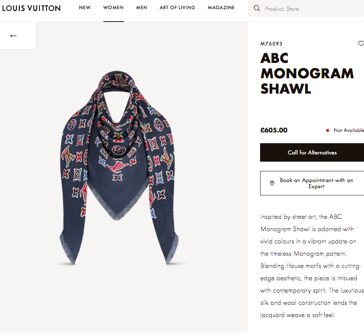 LV ABC MONOGRAM SHAWL - M76093 * £605