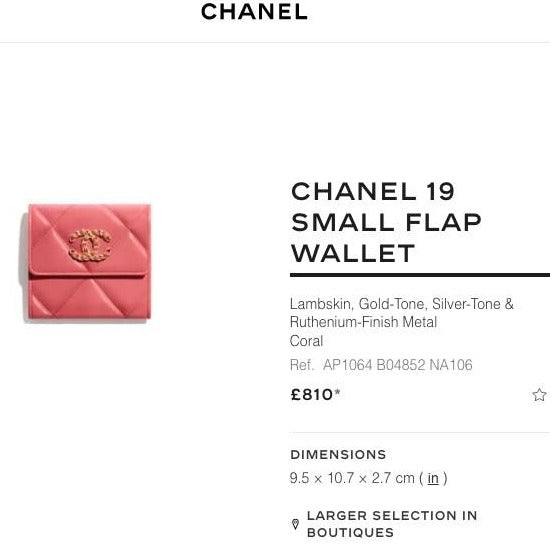 Chanel 19 Small Flap Wallet Lambskin - AP1064 * £810