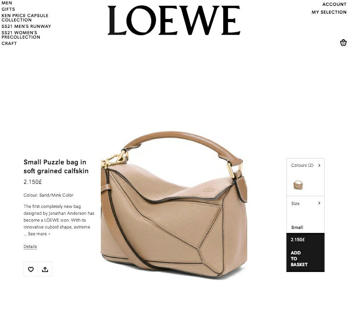 LOEWE Small Puzzle Bag in Soft Grained Calfskin * £2150