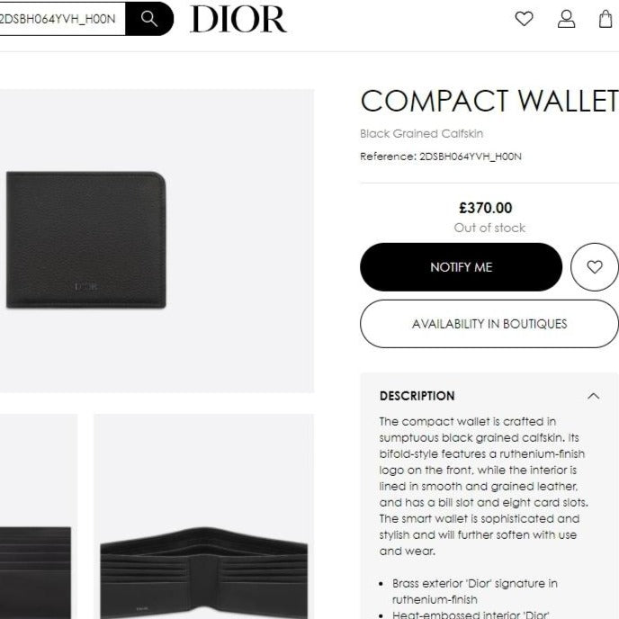 DIOR COMPACT WALLET 素面牛皮 - 2DSBH064YVH * £370