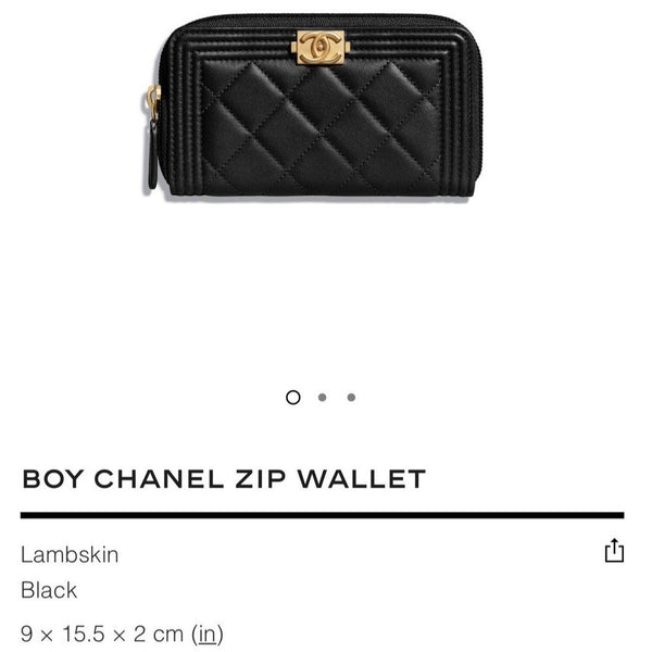 Chanel Boy Chanel Zip Wallet - A80566 * £650