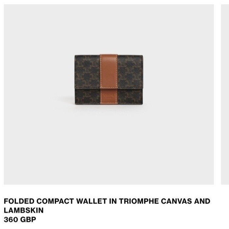 CELINE FOLDED COMPACT WALLET IN TRIOMPHE CANVAS AND LAMBSKIN * £360
