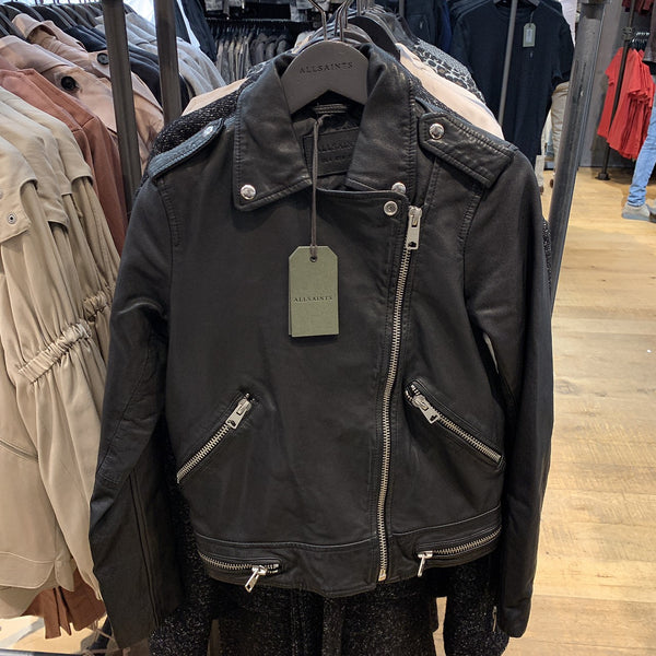 ALLSAINTS Bourne Biker Leather Jacket Black - 貨號待確認 * £230